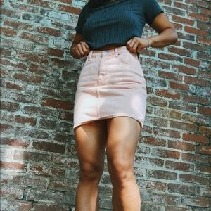 BDG pink denim pencil skirt